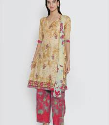 Chhabra 555 Beige  and  Red Cotton Printed Unstitched Dress Material With Printed Chiffon Dupatta dress-material
