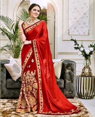 Red And Cream Heavy Embroidery Work Fancy Fabric Saree With Blouse