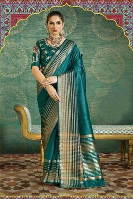 Teal Plain Handloom Silk Saree With Blouse