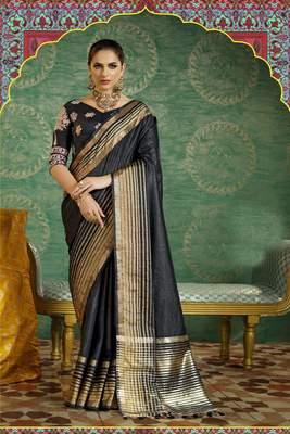 Black Plain Handloom Silk Saree With Blouse