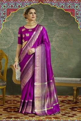 Magenta Plain Handloom Silk Saree With Blouse