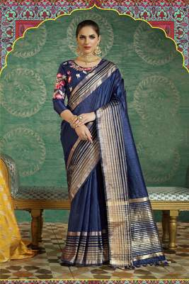 Navy Blue Plain Handloom Silk Saree With Blouse
