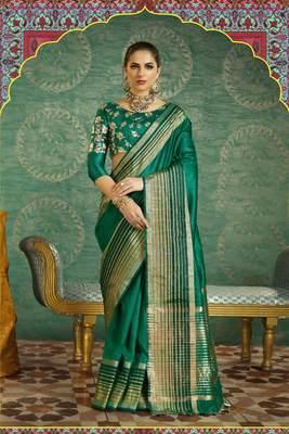 Green Plain Handloom Silk Saree With Blouse