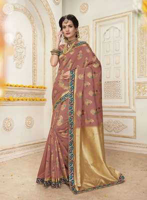 Dusty Pink Resham  and  Jari Embroidery With Stone Work Jacquard Silk Saree With Blouse