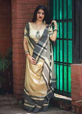 Off White Designer Work Slub Cotton Saree With Blouse