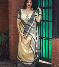 Off White Designer Work Slub Cotton Saree With Blouse