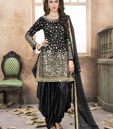 Black embroidered taffeta salwar with dupatta