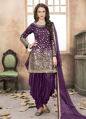 Dark-purple embroidered taffeta salwar with dupatta