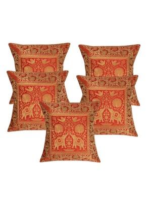 Lal Haveli Square Shape Living Room Decor Silk Cushion Covers 16 x 16 inch Set of 5 Pcs