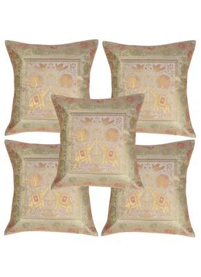 Lal Haveli Sofa Decorations Elephant Design Square Silk Cushion Covers 16 x 16 inch Set of 5 Pcs