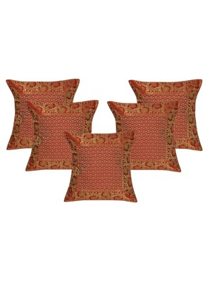 Lal Haveli Living Room Decor Red Silk Cushion Covers 16 x 16 inch 5 Pc Set