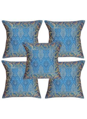 Lal Haveli Designer Square Shape Silk Cushion Covers 16 x 16 inch Set of 5 Pcs