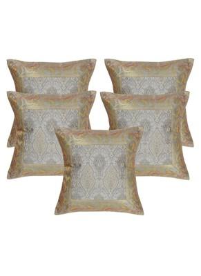 Lal Haveli Elegant Handmade Designer Throw Silk Cushion Covers 16 x 16 inch Set of 5 Pcs