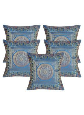 Lal Haveli Jaipuri Handmade Designer Silk Throw Pillow Cushion Covers 16 x 16 inch Set of 5 Pcs