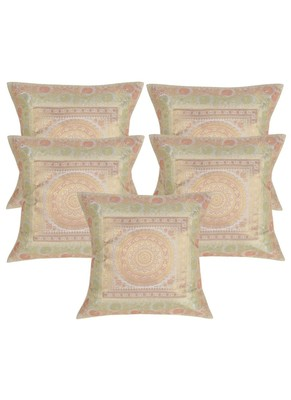 Lal Haveli Designer Sofa Decorations Square Shape White Silk Cushion Covers 16 x 16 inch Set of 5 Pcs
