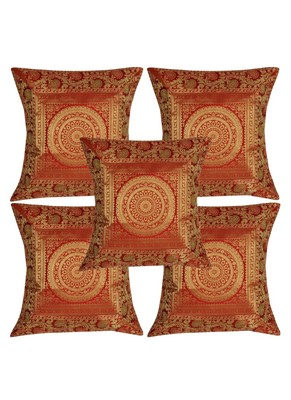 Lal Haveli Red Silk Cushion Covers 16 x 16 inch Set of 5 Pcs