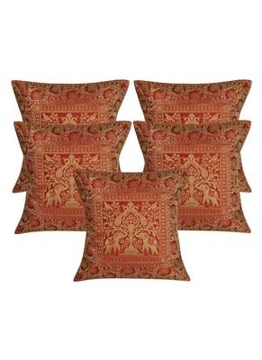 Lal Haveli Designer Home Decor Silk Pillow Cushion Covers 16 x 16 inch Set of 5 Pcs