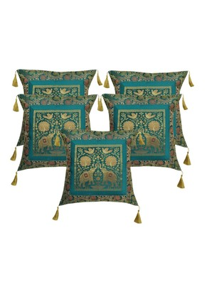 Lal Haveli Elephant Design Silk Cushion Covers for Sofa/Diwan/Car 18 x 18 inch Set of 5 Pcs
