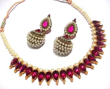 Dark Pink Pearl Gota Necklace Set