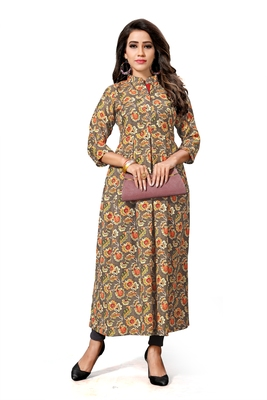 Multicolor printed art silk long kurtis