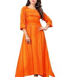 Buy Orange printed rayon long kurtis long-kurtis online