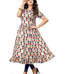Buy Multicolor printed rayon long kurtis long-kurtis online