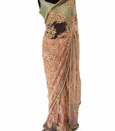 Peach embroidred net saree With Blouse