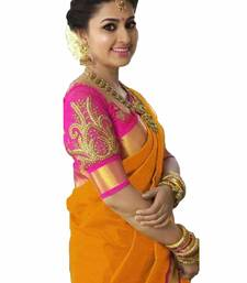 Orange plain chanderi saree with blouse