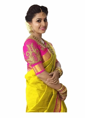 Yellow plain chanderi saree with blouse