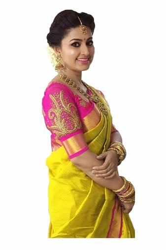 ad4e90a4206 Progress 4cc28d84d76fcb9210fe43f7ac15eb975cd0845b972ae4a79b1d0ad72de0bd8e.  Yellow plain chanderi saree with blouse
