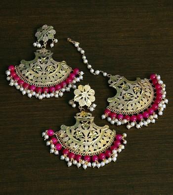 Maroon Gold Plated Traditional Beaded Earrings cum Maang Tikka Set