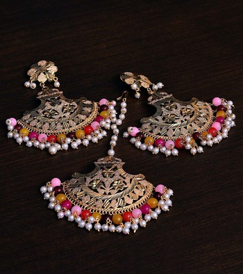 Multicolor Gold Plated Traditional Beaded Earrings cum Maang Tikka Set