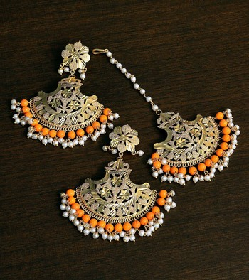 Orange Gold Plated Traditional Beaded Earrings cum Maang Tikka Set