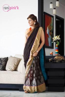Mesh choco brown saree