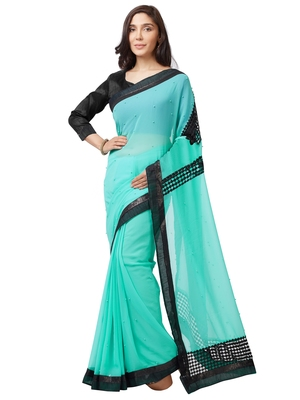 Turquoise plain chiffon saree with blouse