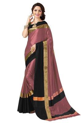 Light pink plain cotton silk saree with blouse