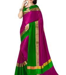 Pink plain cotton silk saree with blouse