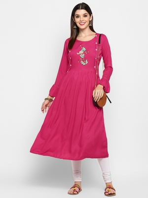 Pink embroidered rayon kurti