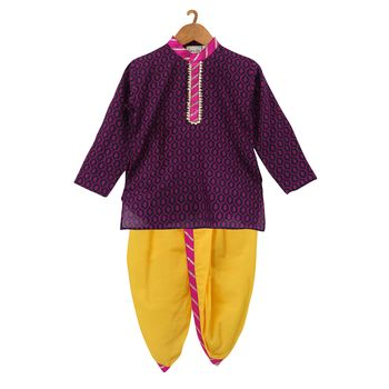 Jaipuri Print Cambric Cotton Dhoti Kurta  Purple