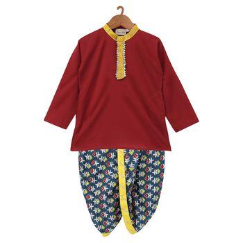 Jaipuri Print Cambric Cotton Dhoti Kurta- Blue