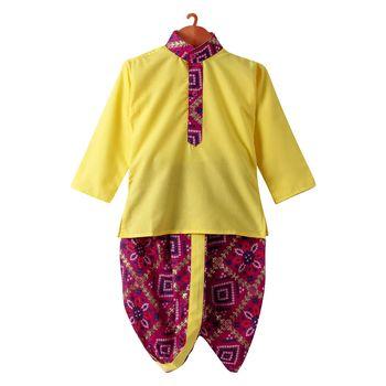 Bandhni Print Dhoti Kurta - Yellow