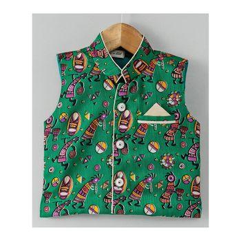 Tribal Print Stand Collar Waistcoat-Green