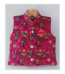 Tribal Print Stand Collar Waistcoat-Pink