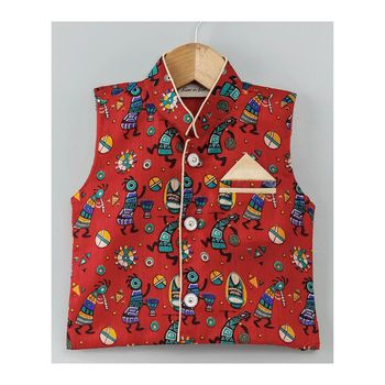 Tribal Print Stand Collar Waistcoat-Red