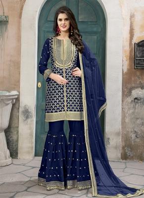 Navy-blue embroidered art silk salwar with dupatta