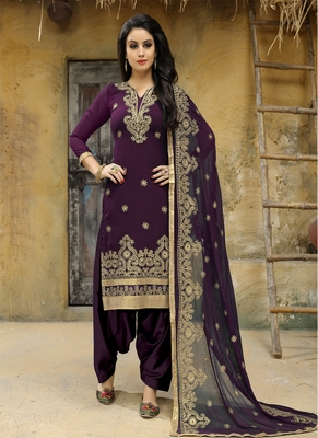 Dark-purple embroidered faux georgette salwar with dupatta