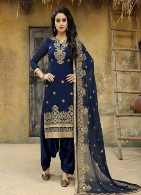 Navy-blue embroidered faux georgette salwar with dupatta