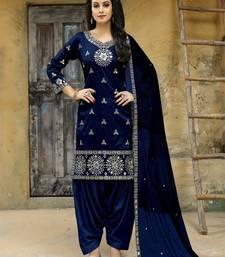 Navy-blue embroidered taffeta salwar with dupatta