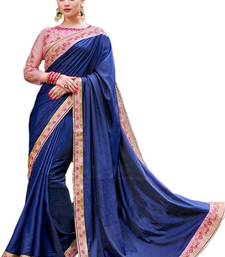 Buy Blue embroidered silk saree with blouse pre-stitched-saree online
