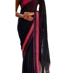 Buy Black embroidered georgette saree with blouse women-ethnic-wear online